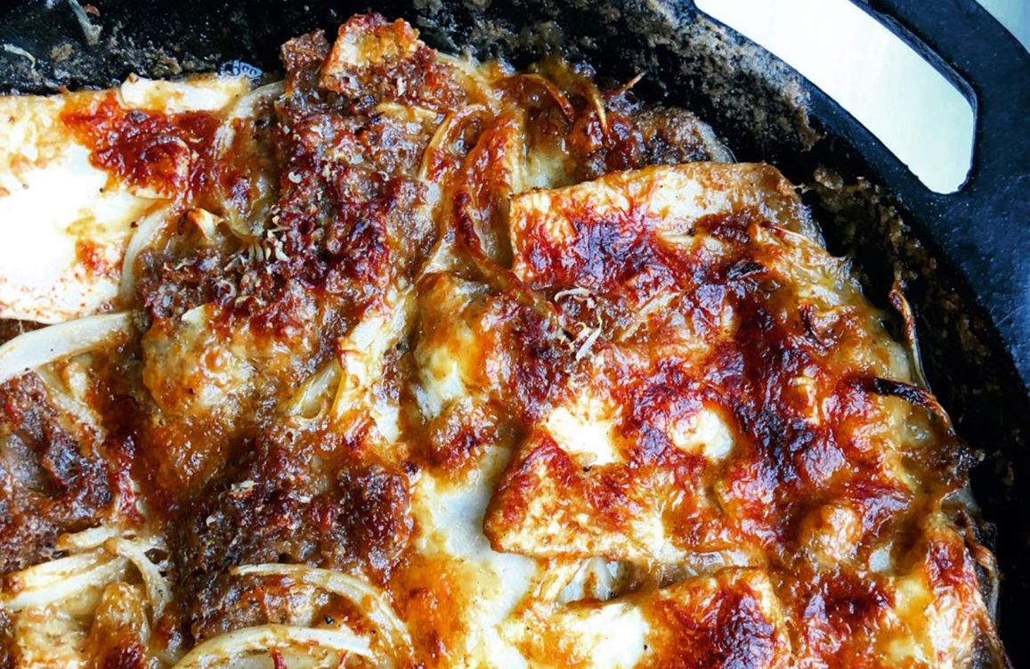 BBQ Celeriac, Beer, Taleggio and Sourdough Gratin